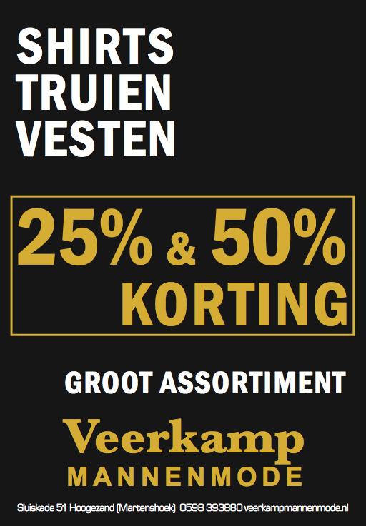 Groot assortiment shirts, truien, vesten 25% & 50%.